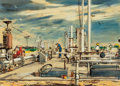 "Texas:Early Texas Art - Regionalists, Attributed to EDWARD MUEGGE ""BUCK"" SCHIWETZ (American, 1898-1984).Oil Pumping in East Texas. Mixed media on paper. 9-3/..."