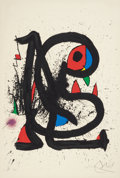 Fine Art - Work on Paper:Print, Joan Miró (Spanish, 1893-1983). Le Mangeur de Foudre I,1973. Lithograph in colors on paper. 35-1/4 x 24-1/8 inches (89....