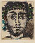 Fine Art - Work on Paper:Print, PABLO PICASSO (Spanish, 1881-1973). Tête de Faune, circa1950. Aquatint in colors on wove paper. 11-3/4 x 9-7/8 inches (...