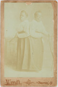 "Photography:Studio Portraits, Ivorytype Photograph of ""The Carolina Twins.""Ca. 1870s. Shown is a faint image of the famous African-American conjoined twin..."