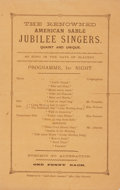 Books:Prints & Leaves, [African-Americana]. Program for a Performance by The RenownedAmerican Sable Jubilee Singers. Quaint and Unique. N.d. ...