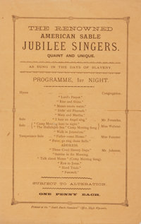 [African-Americana]. Program for a Performance by The Renowned American Sable Jubilee Singers. Quaint and Unique. N.d