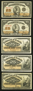 Canadian Currency: , A Quintet of Canadian 25¢ Fractional Notes.. ... (Total: 5 notes)