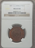 German East Africa, German East Africa: German Colony Pesa 1891 MS64 Red and BrownNGC,...