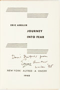 Books:Mystery & Detective Fiction, Eric Ambler. INSCRIBED. Journey Into Fear. New York: AlfredA. Knopf, 1940....