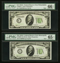 Small Size:Federal Reserve Notes, Fr. 2006-C $10 1934A Mule Federal Reserve Note. PMG Gem Uncirculated 66 EPQ; Fr. 2006-I $10 1934A Mule Federal Reserve Note. P... (Total: 2 notes)