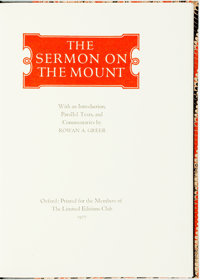 Rowan A. Greer, introduction and commentaries. The Sermon on the Mount. Oxford: Limited Edition