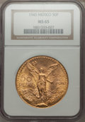 Mexico, Mexico: Republic gold 50 Pesos 1945 MS65 PCGS,...