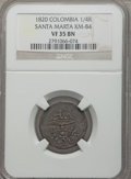 Colombia, Colombia: Santa Marta 1/4 Real 1820 VF35 Brown NGC,...