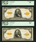 Large Size:Gold Certificates, Consecutive Pair of Fr. 1200 $50 1922 Gold Certificates. PCGSChoice About New 55 & 53.. ... (Total: 2 notes)