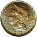 Proof Three Cent Nickels: , 1870 3CN PR67 ★ NGC. This Superb proof is essentially perfect withexquisite lilac and blue t...