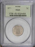 Shield Nickels: , 1871 5C MS65 PCGS. FS-6.5, Fletcher-2. The 71 in the date is widelyrepunched at the peak, and the base of the first 1 in t...