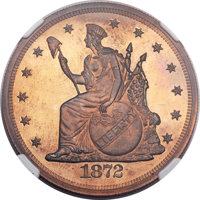 1872 T$1 Trade Dollar, Judd-1221, Pollock-1363, High R.7, PR66 Red and Brown NGC. CAC....(PCGS# 71493)