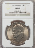 Eisenhower Dollars: , 1976 $1 Type Two MS65 NGC. NGC Census: (2136/354). PCGS Population (1973/458). Mintage: 113,318,000. Numismedia Wsl. Price ...