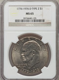 Eisenhower Dollars: , 1976-D $1 Type Two MS65 NGC. NGC Census: (4576/493). PCGS Population (2254/863). Mintage: 82,179,568. Numismedia Wsl. Price...
