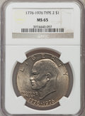 Eisenhower Dollars: , 1976 $1 Type Two MS65 NGC. NGC Census: (2147/354). PCGS Population (1975/460). Mintage: 113,318,000. Numismedia Wsl. Price ...
