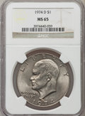 Eisenhower Dollars: , 1974-D $1 MS65 NGC. NGC Census: (6457/613). PCGS Population (1779/457). Mintage: 45,517,000. Numismedia Wsl. Price for prob...