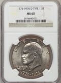Eisenhower Dollars: , 1976-D $1 Type One MS65 NGC. NGC Census: (1130/260). PCGS Population (1185/276). Mintage: 21,048,710. Numismedia Wsl. Price...