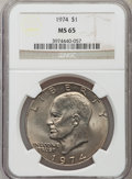 Eisenhower Dollars: , 1974 $1 MS65 NGC. NGC Census: (652/59). PCGS Population (1032/117). Mintage: 27,366,000. Numismedia Wsl. Price for problem ...