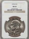 Eisenhower Dollars: , 1974-D $1 MS65 NGC. NGC Census: (6457/613). PCGS Population (1780/457). Mintage: 45,517,000. Numismedia Wsl. Price for prob...
