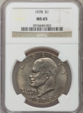 Eisenhower Dollars: , 1978 $1 MS65 NGC. NGC Census: (488/144). PCGS Population (1284/368). Mintage: 25,702,000. Numismedia Wsl. Price for problem...