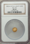 California Fractional Gold: , 1855/4 25C Liberty Octagonal 25 Cents, BG-106, R.3, MS64 NGC. NGCCensus: (16/14). PCGS Population (36/14). ...