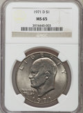 Eisenhower Dollars: , 1971-D $1 MS65 NGC. NGC Census: (1285/649). PCGS Population (3182/940). Mintage: 68,587,424. Numismedia Wsl. Price for prob...