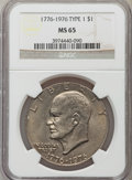 Eisenhower Dollars: , 1976 $1 Type One MS65 NGC. NGC Census: (226/17). PCGS Population (487/24). Mintage: 4,019,000. Numismedia Wsl. Price for pr...