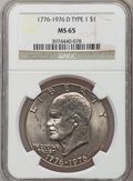 Eisenhower Dollars: , 1976-D $1 Type One MS65 NGC. NGC Census: (1130/260). PCGS Population (1186/276). Mintage: 21,048,710. Numismedia Wsl. Price...