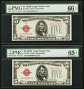Small Size:Legal Tender Notes, Fr. 1527 $5 1928B Legal Tender Notes. Two Examples. PMG Graded.. ... (Total: 2 notes)