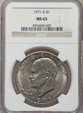 Eisenhower Dollars: , 1971-D $1 MS65 NGC. NGC Census: (1285/648). PCGS Population (3181/942). Mintage: 68,587,424. Numismedia Wsl. Price for prob...