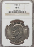 Eisenhower Dollars: , 1972-D $1 MS65 NGC. NGC Census: (791/311). PCGS Population (2032/405). Mintage: 92,548,512. Numismedia Wsl. Price for probl...