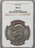 Eisenhower Dollars: , 1972-D $1 MS65 NGC. NGC Census: (785/311). PCGS Population (2031/404). Mintage: 92,548,512. Numismedia Wsl. Price for probl...