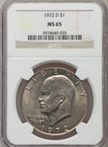 Eisenhower Dollars: , 1972-D $1 MS65 NGC. NGC Census: (785/311). PCGS Population (2030/404). Mintage: 92,548,512. Numismedia Wsl. Price for probl...
