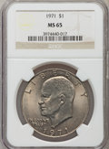 Eisenhower Dollars: , 1971 $1 MS65 NGC. NGC Census: (633/37). PCGS Population (807/57). Mintage: 47,799,000. Numismedia Wsl. Price for problem fr...