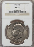 Eisenhower Dollars: , 1972-D $1 MS65 NGC. NGC Census: (784/311). PCGS Population (2030/404). Mintage: 92,548,512. Numismedia Wsl. Price for probl...