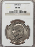 Eisenhower Dollars: , 1972-D $1 MS65 NGC. NGC Census: (784/311). PCGS Population (2029/404). Mintage: 92,548,512. Numismedia Wsl. Price for probl...