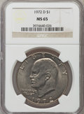 Eisenhower Dollars: , 1972-D $1 MS65 NGC. NGC Census: (784/311). PCGS Population (2028/404). Mintage: 92,548,512. Numismedia Wsl. Price for probl...