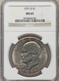 Eisenhower Dollars: , 1971-D $1 MS65 NGC. NGC Census: (1285/649). PCGS Population (3181/942). Mintage: 68,587,424. Numismedia Wsl. Price for prob...