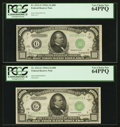 Small Size:Federal Reserve Notes, Fr. 2212-G $1,000 1934A Federal Reserve Notes. Two Consecutive Examples. PCGS Very Choice New 64PPQ.. ... (Total: 2 notes)