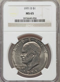Eisenhower Dollars: , 1971-D $1 MS65 NGC. NGC Census: (1285/649). PCGS Population (3181/940). Mintage: 68,587,424. Numismedia Wsl. Price for prob...