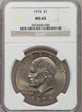 Eisenhower Dollars: , 1974 $1 MS65 NGC. NGC Census: (655/59). PCGS Population (1035/120). Mintage: 27,366,000. Numismedia Wsl. Price for problem ...