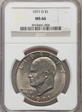 Eisenhower Dollars: , 1971-D $1 MS66 NGC. NGC Census: (608/41). PCGS Population (920/20). Mintage: 68,587,424. Numismedia Wsl. Price for problem ...