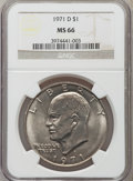 Eisenhower Dollars: , 1971-D $1 MS66 NGC. NGC Census: (608/41). PCGS Population (916/20). Mintage: 68,587,424. Numismedia Wsl. Price for problem ...