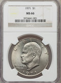 Eisenhower Dollars: , 1971 $1 MS66 NGC. NGC Census: (37/0). PCGS Population (57/0). Mintage: 47,799,000. Numismedia Wsl. Price for problem free N...