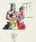 Original Comic Art:Sketches, Bill Everett - Double-Sided Sketch Page Original Art (c. 1940)....
