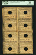 Colonial Notes:New Hampshire, New Hampshire April 29, 1780 $5-$7-$8-$20-$1-$2-$3-$4 Uncut SheetPCGS Apparent Very Fine 30.. ...