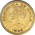 Chile, Chile: Republic gold 100 Pesos 1932-So MS63 NGC,...