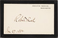 Autographs:Celebrities, Robert Todd Lincoln: Autographed Executive Mansion Mourning Card....
