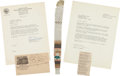 Political:Presidential Relics, [Abraham Lincoln]: Strip of Wallpaper from the Peterson House Death Room. ...